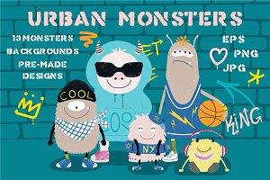 Cool Urban Monsters Vector Set