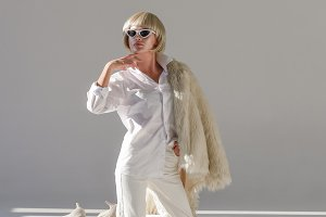 Blonde woman in sunglasses