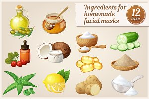 Facial mask ingredients vector icons