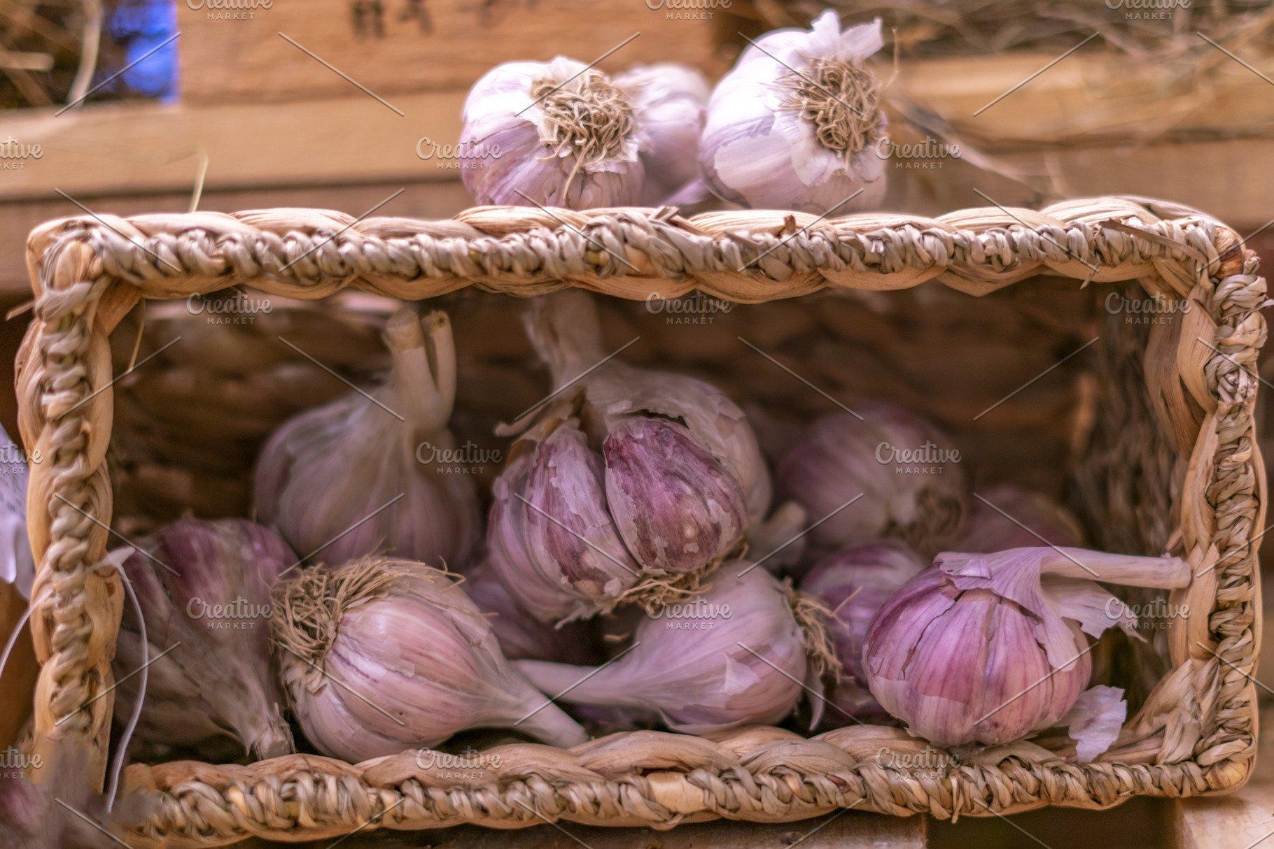 garlic basket in farmer market store