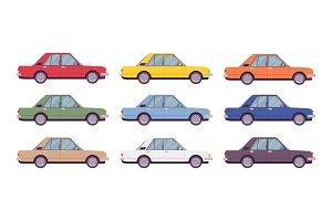 Sedan set in bright colors