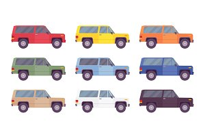 SUV, offroad set in bright colors