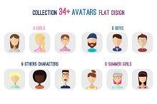 34+ Avatars flat set +png files