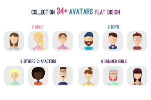 34+ Avatars flat set +png files