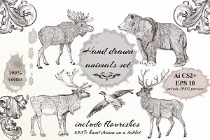 Collection of hand drawn animals