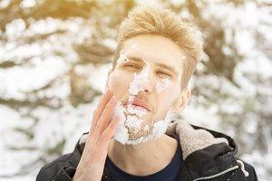 frozen cold bearded man face outdoor
