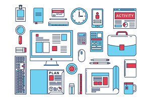 Vector business workflow items