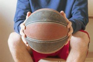 basketball player in locker room on