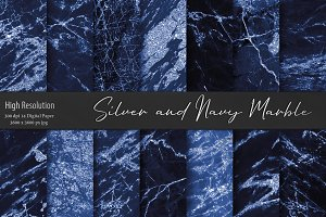 Silver and Navy Marble Textures