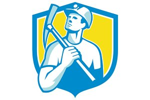 Coal Miner Holding Pick Axe Looking
