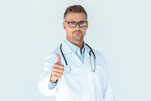 handsome doctor in glasses with stet