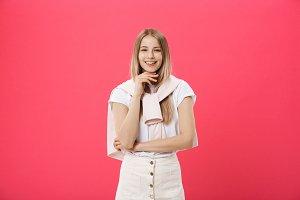 Cheerful beautiful young woman in
