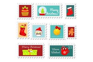 Chiristmas New Year postal stamps