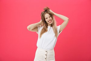 Positive young model girl,funny