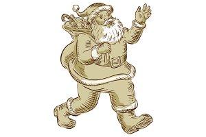 Santa Claus Walking Waving Etching