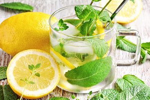 Refreshing cold iced mint tea