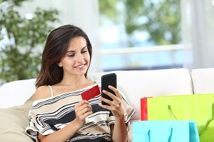 Happy online buyer paying online