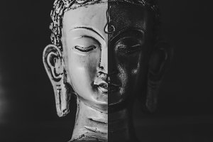 Buddha Collage In Black And White