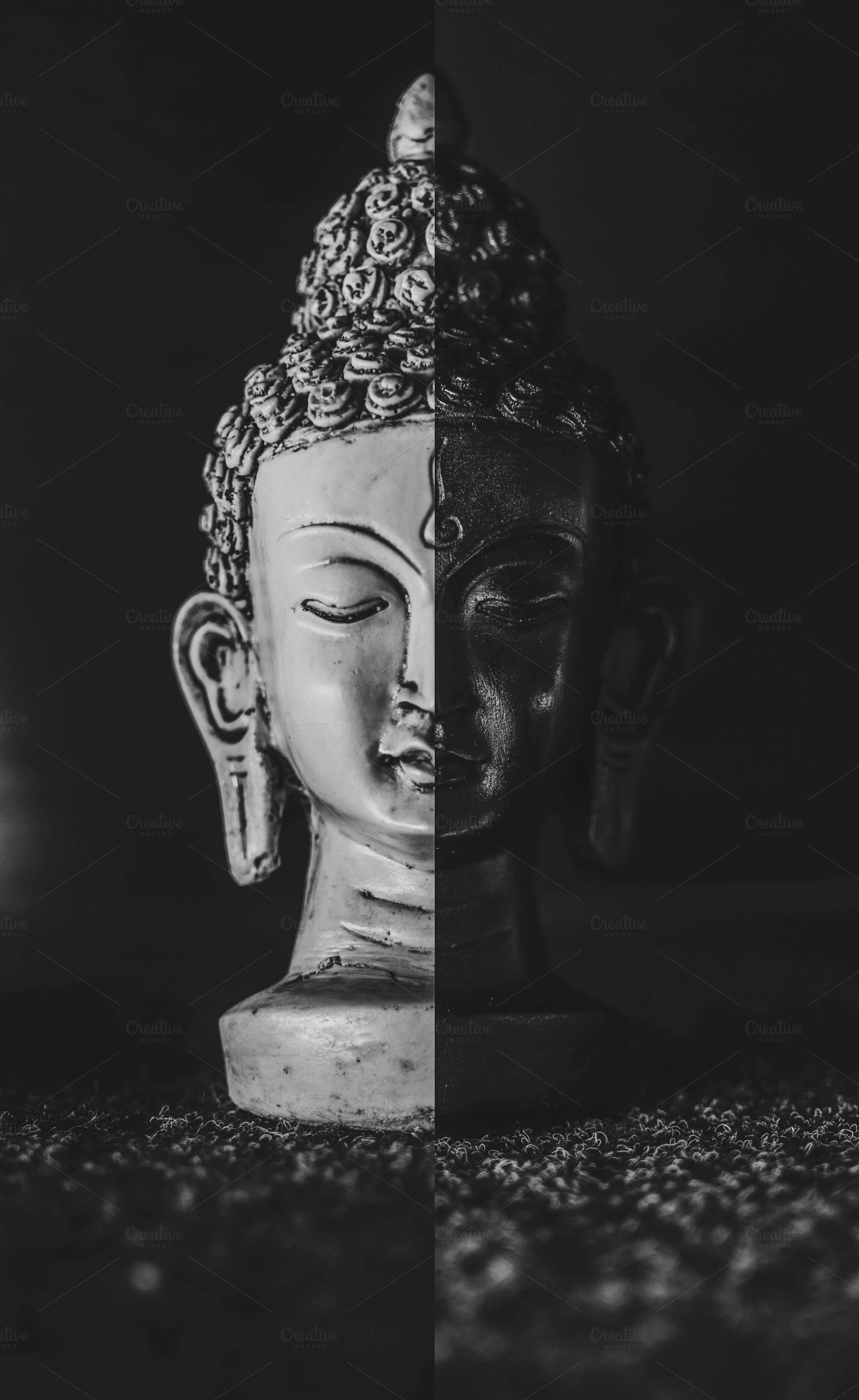 Save buddha collage in black and white