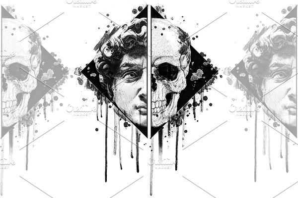 Renaissance Skull illustration