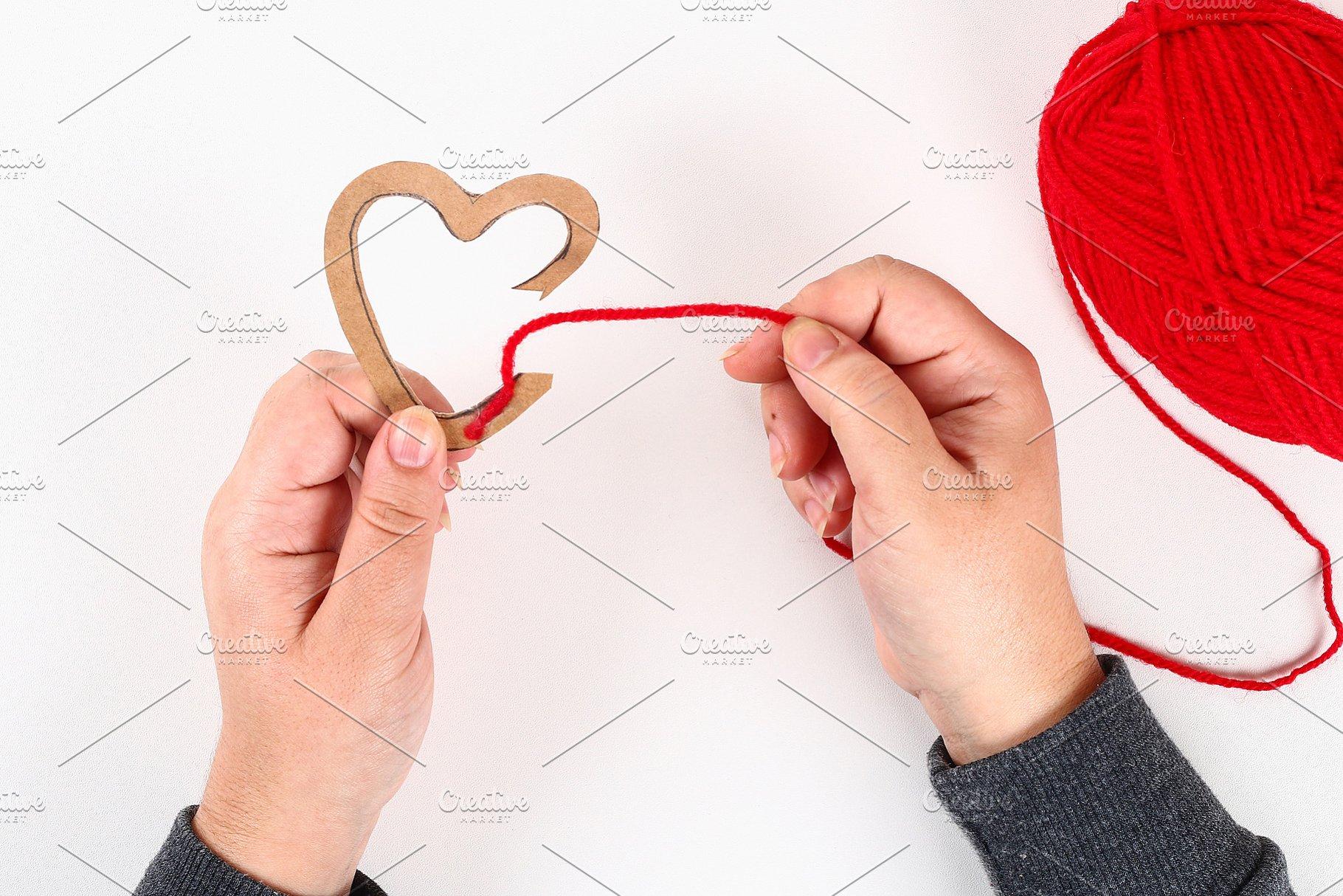 Red handmade diy hearts made of card