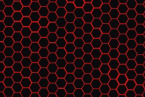 Red polygons on black background.