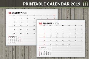 Printable Calendar 2019 (WC037-19-P)