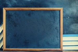 empty black chalk drawing frame
