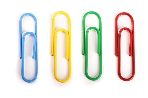 colored paper clips isolated on