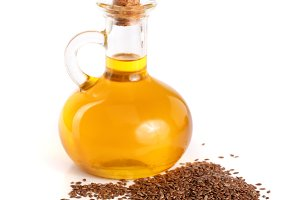 linseed oil with flax seeds isolated