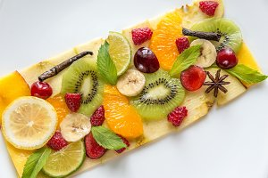 Fruit and berry carpaccio