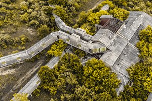Aerial Drone of Abandoned Factory