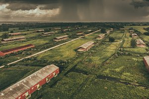 Aerial Drone Storm Abandoned Farming