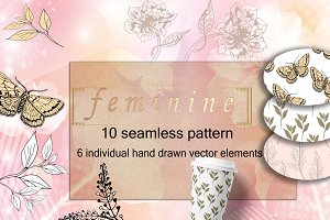 Feminine elements hand drawn flowers