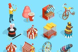 Travel circus isometric icons set