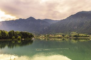 Panoramic view of Lake Idro in sprin