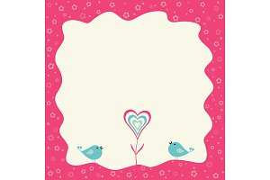 Two birds and heart flower