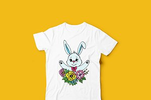 Doodle cute rabbit in flowers