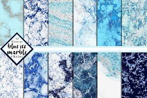 Blue Glitter Marble Patterns