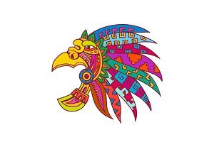 Ancient Aztec Headdress Drawing Colo
