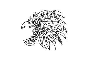 Aztec Feathered Headdress Drawing Bl
