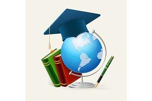 Graduation cap, stack of books, glob