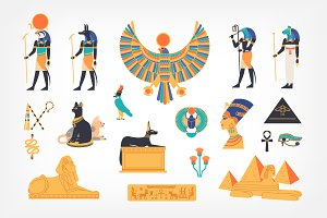 Egyptian symbols set and seamless