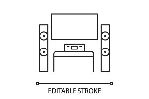 Home theater system with TV icon