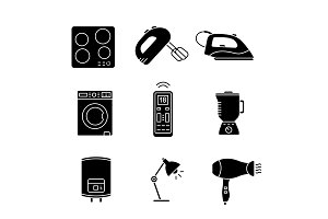 Household appliance glyph icons