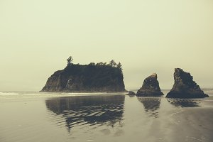Dramatic Rocks along Foggy Beach