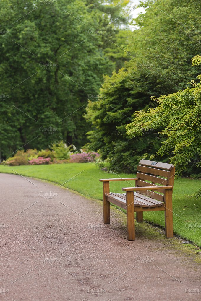 Wooden bench in a beautiful park nature photos for Beautiful wooden benches