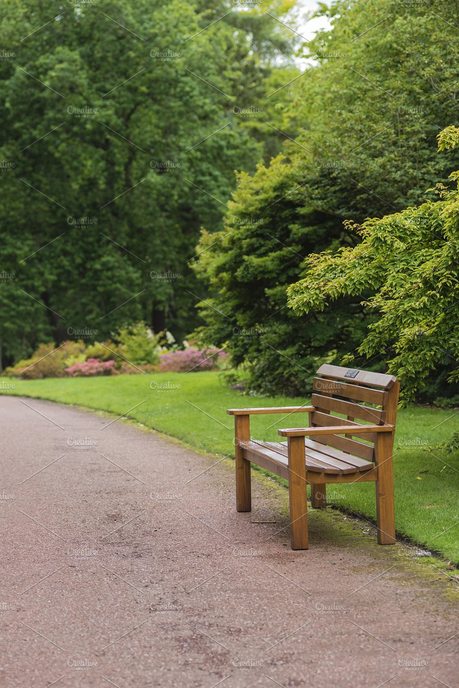 Wooden Bench In A Beautiful Park Nature Photos Creative Market