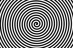 Black and white spiral strips in a t