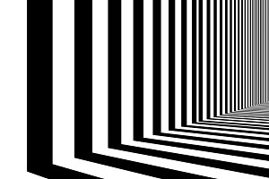 Black and white strips in empty room